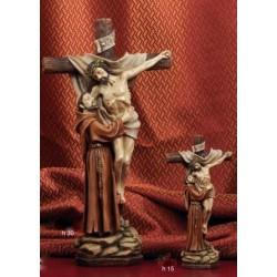 Statua resina Cristo in croce con San Francesco H. 30