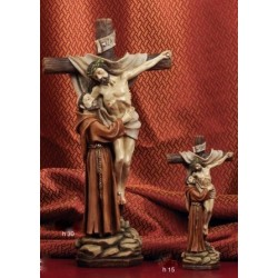 Statua resina Cristo in croce con San Francesco H. 15