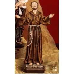 Statua resina San Francesco veste tipo stoffa CM. 20