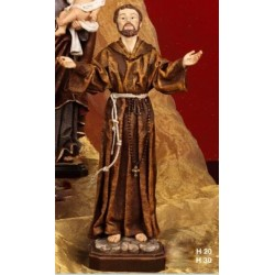 Statua resina San Francesco veste stoffa H.30