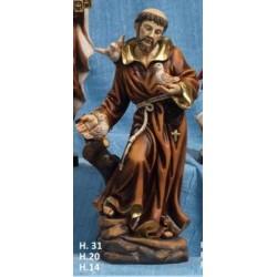 Statua resina San Francesco con colombe H.20