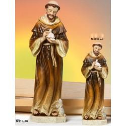 Statua resina San Francesco con colomba e coniglio H.31