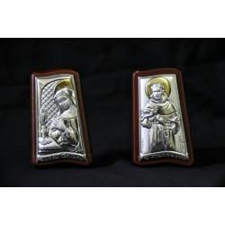 Icona argento su base legno ciliegio San Francesco e Santa Chiara H. 6