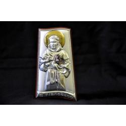 Icona argento su base legno ciliegio San Francesco H. 9