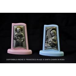 Icona argento su base legno colorata San Francesco e Santa Chiara H.6