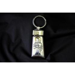 Portachiavi in argento su base legno ciliegio con San Francesco CM 11