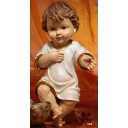 Gesù Bambino vestito in resina (steso) H 34
