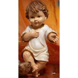 Gesù Bambino vestito in resina (steso) H 29
