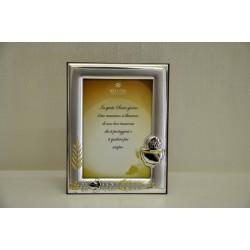 Portafoto in argento con calice, dettagli glitter e dedica 9x13 + scatola regalo