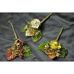 Rosa carta con profilo oro e foglie glitter cm. 10