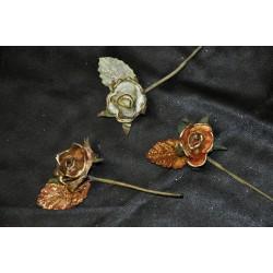 Roselline profilo oro e foglia glitter cm 10