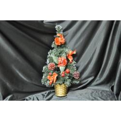 Alberello da appendere con rose, fiocchi, bacche e pigne H 50