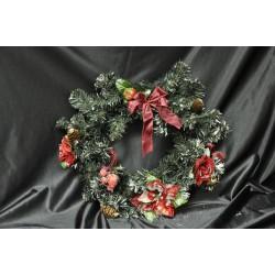Ghirlanda da porta con fiocchi, bacche, pigne e  stella natalizia diam. 38