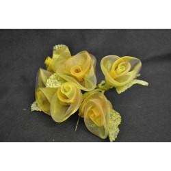 Rose girate in organza bicolor mazzo 6 pz