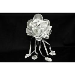 Rosa diam 7 con decorazione perle e nastri con racchette grigio perla cm 24