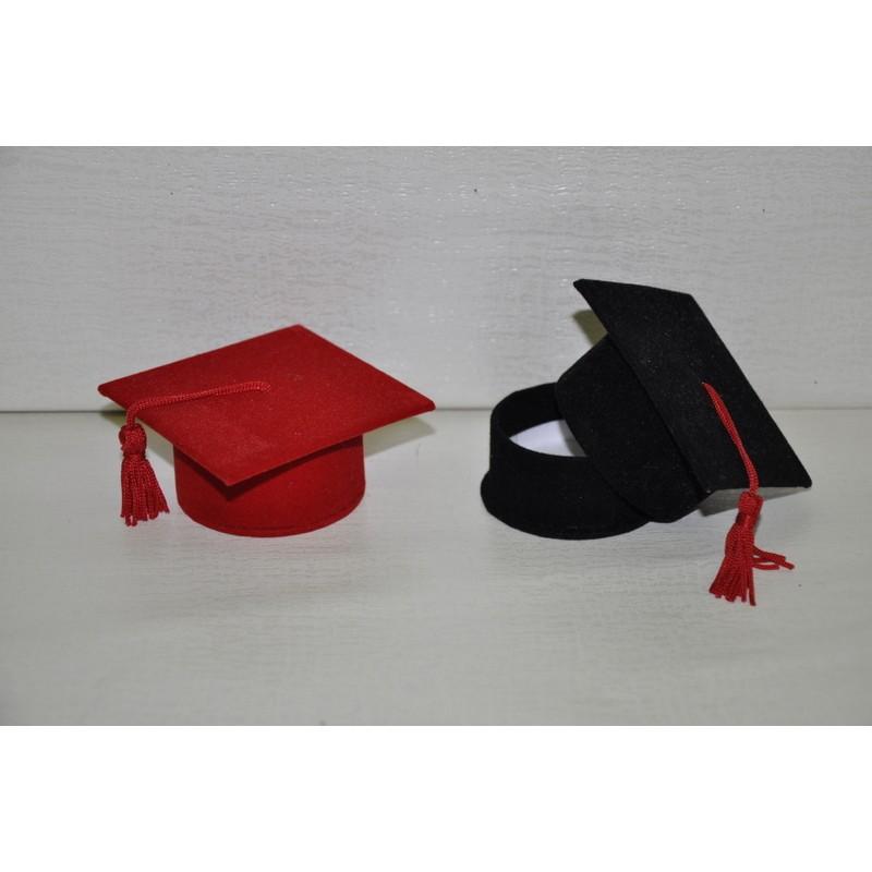 Tocco laurea in velluto portaconfetti con nappa 7x7x3 5 4c6335fb6afd
