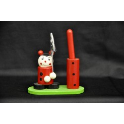 Coccinella in legno memo clip con porta penne L 9 H 10