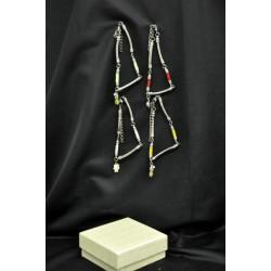 Braccialetto tessuto e metallo con ciondolo smaltato + scatola