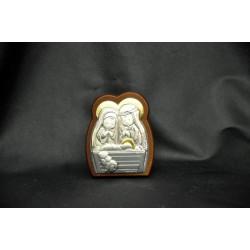 Icona base legno con placca argento con natività L.5 H 6