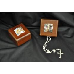 Scatola in legno porta rosario con placca ceramica 8x8x4