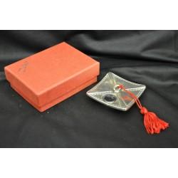 Tocco laurea ricoperto argento con lente e nappa 6x6 + scatola