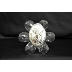 Icona cristallo con placca argento H 11