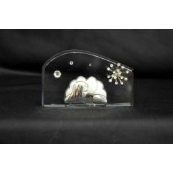 Icona vetro con placca arg e strass cm. 9x5
