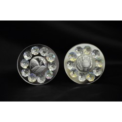 Icona specchio, argento e cristalli diam. 8