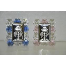 Icona argento calice e cristalli cm 7x8