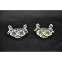 Coppia colombi cristallo con fedi oro o argento L. 5 H 4