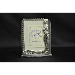 Portafoto vetro, argento e strass cm. 5x8