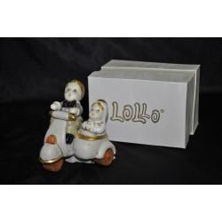 Sposi su sidecar in porcellana 9x9 con scatola