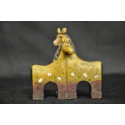 Coppia cavalli resina colorati H 8