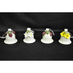 Campana ceramica lucida fiori e frutta H 6