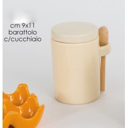 Barattolo in porcellana lucida con cucchiaio + scatola
