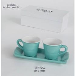 Set 2 tazze con vassoio in porcellana bicolore con scatola