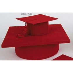 Set due cappelli da laurea cm. 17x17 h. 8 e 34x34 h.10