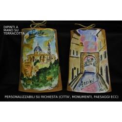 Tegola terracotta con immagine dipinta a mano PERSONALIZZABILE cm.18