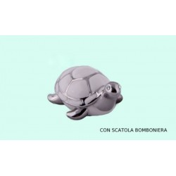 Tartaruga porcellana bianca e argentata con scatola