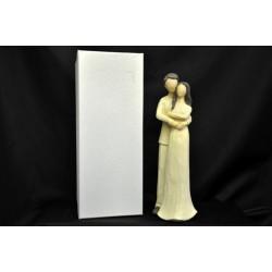 Coppia in resina tipo legno, H 28 con scatola