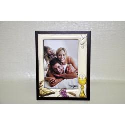 Portafoto comunione anticato 9x13 con retro legno ciliegio