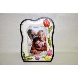 Portafoto anticato con tulipani 21x26 con retro legno ciliegio