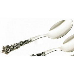 Cucchiaio acciaio con manico argento cm 21 MADE IN ITALY