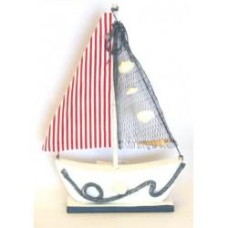 Barca in legno con vela in tessuto+rete h.28