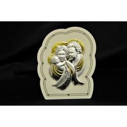 Icona argento su base legno con strass H 11 con scatola