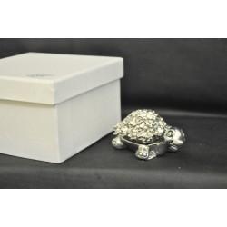 Tartaruga in resina argentata con fiori cm.7 con scatola