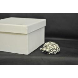 Coccinella in resina argentata con fiori cm. 5 con scatola