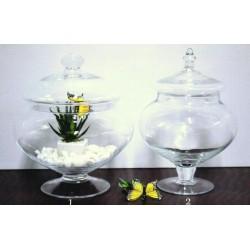 Potiche in vetro con coperchio h.26 dmax. 22 (1)