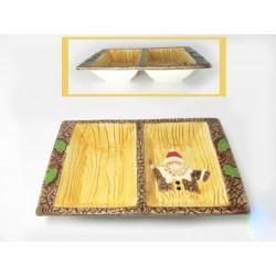 """Centrotavola ceramica """"tipo legno"""" con Babbo Natale 25x17"""