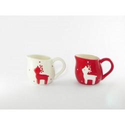 Lattiera in ceramica rossa e bianca con renna ass.2 H 9